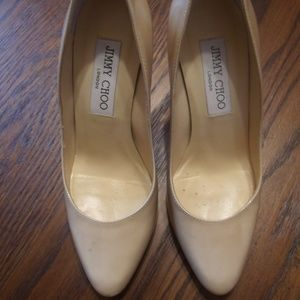 Jimmy Choo Beige Patent Leather Pumps